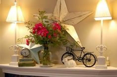 Love this for a spring mantel. What a cute little bike too!