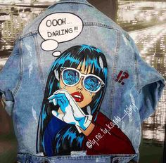 2019 The post 2019 appeared first on Denim Diy. Painted Denim Jacket, Painted Jeans, Painted Clothes, Hand Painted, Fabric Painting On Clothes, Diy Clothing, Custom Clothes, Denim Kunst, Custom Denim Jackets