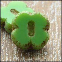Czech Glass Table Cut Picasso 4 Petal Flower Beads - Apple Green