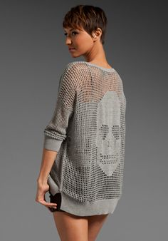 AUTUMN CASHMERE Hand Crochet Skull Hi Lo Sweater in Static at Revolve Clothing - Free Shipping!