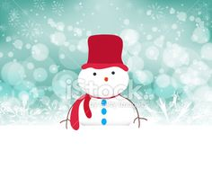 snowman background with snowflakes - Illustration