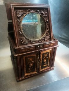 Exquisite Antique Jewelry Box with Stand Up Mirror  by IpoDepot