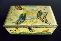 Vintage Artstyle Chocolate Co. Tin Box with Lid and Hasp Butterfly Flower Design.