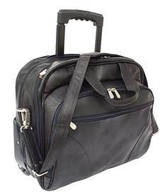 Piel leather Rolling Laptop Briefcase, Office on Wheels Case