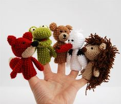 finger puppet crocheted fox frog hedgehog bear and by crochAndi, $25.00