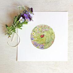 Ladybug watercolour print by Kathleen Maunder of trowelandpaintbrush