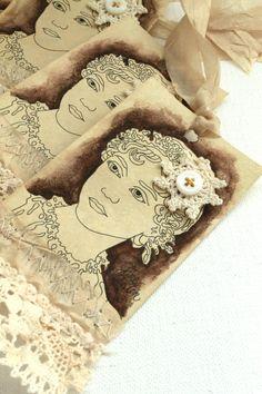 Jane Austen shabby tags.
