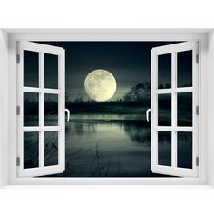 Window Wall Mural Full moon rise Peel and Stick Fabric