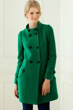 Standing Collar Double Breasted Wool-blend Coat
