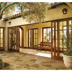 Wood Sliding Glass Doors to interior courtyard