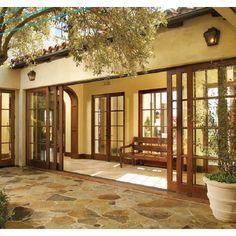 Wood Sliding Glass Doors to interior courtyard