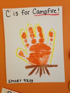 C is for Campfire Infant Handprint