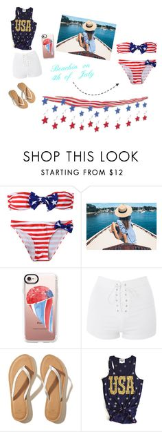 """""""Beachin on the 4th"""" by morgan2017 ❤ liked on Polyvore featuring Casetify, Topshop and Hollister Co."""