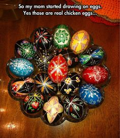 Post with 342 views. So my mom started drawing on eggs. (Yes those are real chicken eggs)