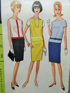 Vintage McCall's 8143 Sewing Pattern, 1960s Skirt Pattern, Two Piece Dress Pattern, Bust 32, Top Pattern, Mod Look, 1960s Sewing Pattern