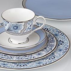 Sapphire Plume Dinnerware by Marchesa for Lenox.