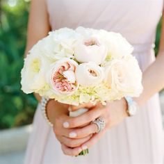 see more: bridesmaid bouquets, blush, ivory, light pink, peonies, roses