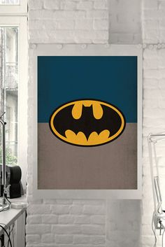 "DC Universe Comic Store Superheroes Minimalist ""Batman"" Art Poster - Retro Style Print Home Decor Wall Art Nursery Marvel Comics"