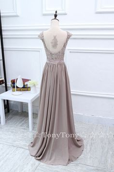 Lace Appliqued Prom Dresses with Cap SleevesLong by TonyTony10007