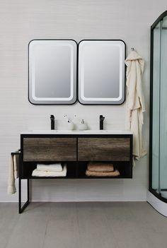 Soho, Grey Oak, Bathroom Furniture, Aluminium, Double Vanity, Modern, Design, Bathrooms, Bathroom Accesories