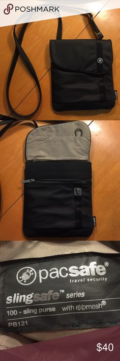 Pacsafe crossbody sling 100 purse/travel bag Color black. Sling safe 100 from PacSafe. It's a crossbody. Perfect for travelers who want to make sure their bags do not get slashed or stolen! Pacsafe Bags Crossbody Bags