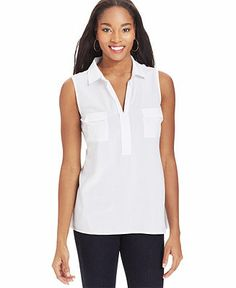 Style&co. Sleeveless Point-Collar Top - Sale & Clearance - Women - Macy's