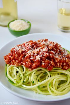 Zucchini Noodles with Turkey Bolognese | #recipe via justataste.com