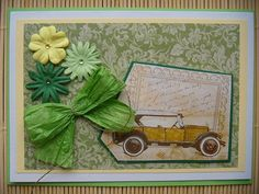 card with an old car