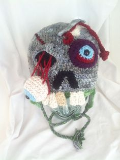 Custom Crochet Zombie Hat - ha! I think I could come up with something like this... who wants a zombie hat?!