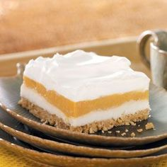 Butterscotch Bliss Layered Dessert Recipe.      1 piece equals 136 calories, 8 g fat (6 g saturated fat), 21 mg cholesterol, 245 mg sodium, 12 g carbohydrate, trace fiber, 3 g protein. Diabetic Exchanges: 1 starch, 1 fat.