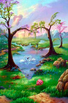 Fondo de pantalla artístico para el teléfono celular: Jardin del amor