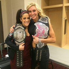 NXT Women's Champion Bayley and WWE Divas Champion Charlotte.