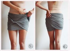 diy draped mini skirt from a wide scarf. NO SEWING just twisting.  It's in Danish, but the pictures are easy to follow.  I love this!