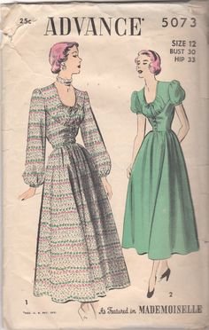 1940s Advance 5073  Misses Low  U Neck DRESS Pattern Seam Interest full skirt womens vintage sewing pattern by mbchills