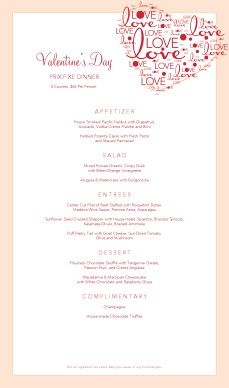 valentine's day menu wording