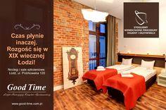 W części Good Time Aparthotel w pokojach i na korytarzach umieściliśmy zegary dawnej świetności. One odmierzają czas zupełnie inaczej. Zatrzymują i wydłużają Wasze najlepsze chwile. Rezerwujcie i przekonajcie się. Recepcja: 42 207 32 32, 503 085 000, recepcja@good-time.com.pl i bezpośrednio: