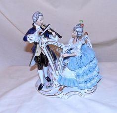 Dresden MUSICIANS Harp Violin Man Woman Blue Porcelain Germany vintage Dresden #Dresden