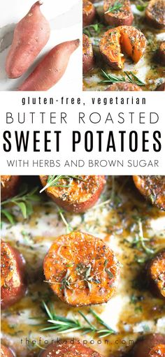 These Savory Butter Roasted Sweet Potatoes are made with a handful of simple ingredients including fresh herbs, melted butter, brown sugar, and sweet potatoes and roasted in the oven until perfectly tender and delicious. Full of mouthwatering flavor, these impressive roasted sweet potatoes are guaranteed to be your new favorite sweet potato side dish this holiday season. Sweet Potato Side Dish, Oven Roast, Roasted Sweet Potatoes, Melted Butter, Fresh Herbs, Brown Sugar, Side Dishes, Vegetarian, Vegetables