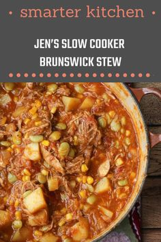Jen's Slow Cooker Brunswick Stew Nothing says comfort food like a nice big bowl of hearty Brunswick Stew! Here is my recipe for Slow Cooker Brunswick Stew. - Jen's Slow Cooker Brunswick Stew - Healthy Crockpot Recipes, Slow Cooker Recipes, Soup Recipes, Dinner Recipes, Cooking Recipes, Crockpot Meals, Healthy Food, Recipies, Quick Recipes
