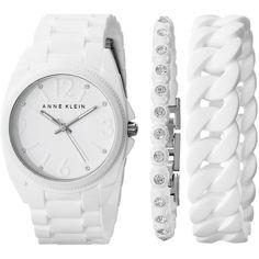 Anne Klein AK-1957WTST Watches ($75) ❤ liked on Polyvore featuring jewelry, watches, anne klein, bezel watches, bezel jewelry, stainless steel jewelry and bezel bracelet