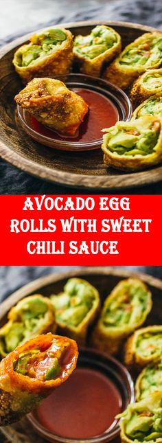 Avocado egg rolls with sweet chili sauce (vegan) - These avocado egg rolls are fried to crispy perfection and served with a tasty sweet chili sauce. This recipe is vegan and a crowd favorite for party appetizers. Rib Recipes, Steak Recipes, Chicken Recipes, Cooking Recipes, Avocado Egg Rolls, Avocado Roll, I Love Food, Good Food, Importance Of Food