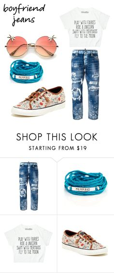 """""""Boyfriend jeans mermaid edition"""" by shootingstarhibiscus ❤ liked on Polyvore featuring Dsquared2, Blooming Lotus Jewelry and Sperry"""