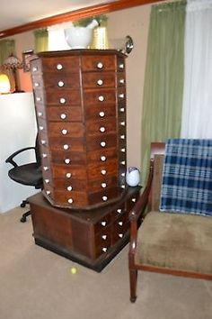 1931 American Cabinet Co Mahogany Dental Cabinet Antique
