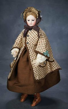French Bisque Poupee in the Barrois Genre with Rare Body Style and Costume 3000/4000