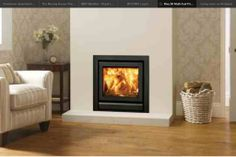 Stovax Riva 50 cassette woodburning and multi-fuel fire with frame in Jet Black Metallic. Make the most of your living space with a cassette fire built into your wall. Inset Fireplace, Wood Burner Fireplace, Fireplace Ideas, Modern Fireplace, Inset Stoves, Wood Stoves, Lounge Design, Log Burner, Home Renovation