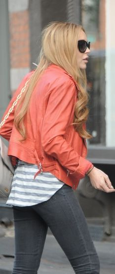 Who made Lindsay Lohan's orange leather jacket and handbag?