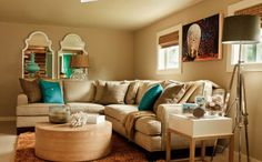Love camel furniture with teal accents  from sanoaman
