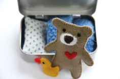 Teddy Bears – miniature TEDDY in a TIN, Travel Toy – a unique product by petitmiracles on DaWanda