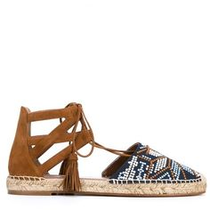 Aquazzura Belgravia Embroidered Suede Espadrilles (1.275 RON) ❤ liked on Polyvore featuring shoes, sandals, flats, brown, ankle wrap flat sandals, ankle tie sandals, brown sandals, suede sandals and suede flats
