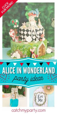 Don't miss this beautiful Alice in Wonderland birthday party! The cake is gorgeous! See more party ideas and share yours at CatchMyParty.com  #catchmyparty #partyideas #aliceinwonderland #aliceinwonderlandparty #disneyparty